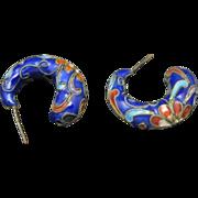 Chinese Cloisonne earrings Blue enamel red hoops pierced