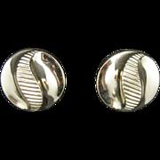 Trifari earrings Button shaped Yin yang