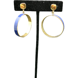 TRIFARI earrings large hoops clip ON Gold and BLUE