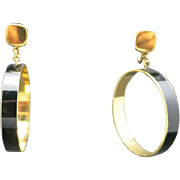 Trifari earrings Clip on HOOPS gold tone BLACK enamel