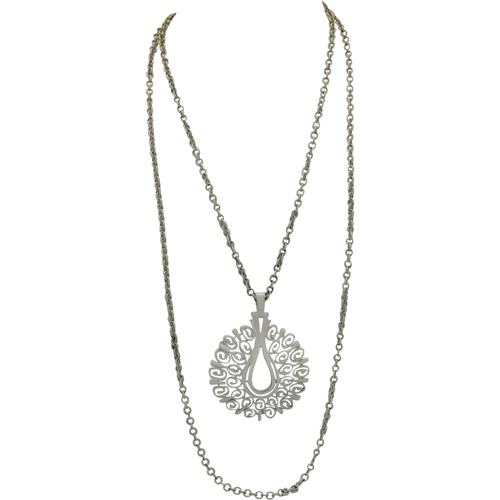 Trifari necklace White Enamel pendant Big Seventies style