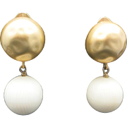 Pellini earrings Clip on gold tone cream lucite
