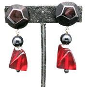 Lucite earrings red and black chunks Clip on rhinestone