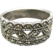 Sterling silver ring Marcasite design accents