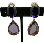Amethyst earrings  huge dangles Yellow gold plated settings