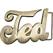 Brass Belt Buckle TED Leather Belt Vintage