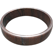 Dark wood bangle bracelet Vintage seventies