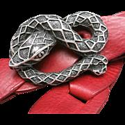 Snake belt Red LEAther Adjustable