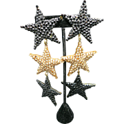 richard Kerr earrings HUGe Stars Black Bronze Clip on