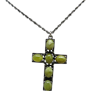 Iona Marble cross Sterling silver chain and pendant