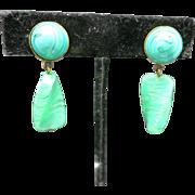 Green glass earrings clip on  Clip on dangles