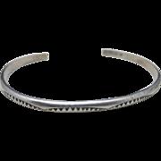 Sterling silver bracelet Slender Navajo stamp work