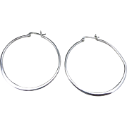 Sterling silver HOOP earrings Pierced Large