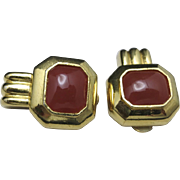 Classy clip on earrings GOLD tone Coral tone