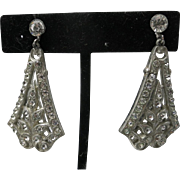 Rhinestone earrings Pot Metal Long Dangles ART DeCO