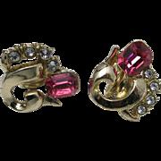 Pink rhinestone earrings GOld tone Screw on