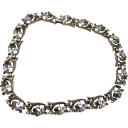 Trifari rhinestone necklace Choker gold tone
