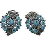 Trifari dress clips Turquoise blue Shoe button KTF