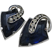 Blue rhinestone earrings CLip on UNIQUE stones