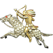 Horse and Rider Pin Rhinestones Native American Southwestern
