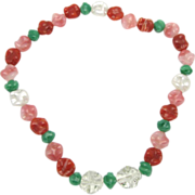 Art glass bead necklace Pink Green clear and pearlized beads unique shapes