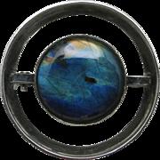 Labradorite pin Kaunis Koru Sterling silver Modernist design
