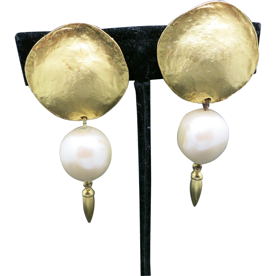 pearl earrings gold tone big clip on from
