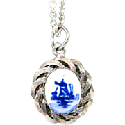 Delft Porcelain Pendant Holland Windmill Sterling Chain