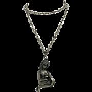 Virgo necklace Pewter Large Zodiac Pendant Naked Girl