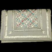 Vintage wallet Cream leather 22 Karat Gold embossed design