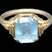 Blue Topaz Ring 10 Karat Yellow gold DECEMber Birth stone