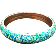 Copper bangle enamel white and green flecks