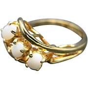 Opal ring three stones Gold filled Cocktail