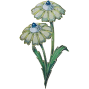 Daisy flower brooch Hand painted Jewelry illustration