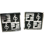 Music note CUFFLINKS silver tone metal vintage sixties