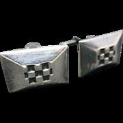 CHECKERboard cufflinks Silver tone metal vintage