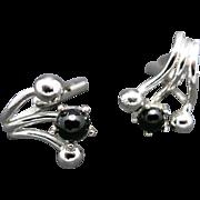 silver tone cufflinks Black glass stone