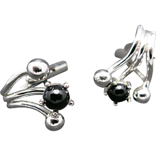 silver tone cufflinks Black glass stone