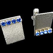 blue Rhinestone Cufflinks Silver tone