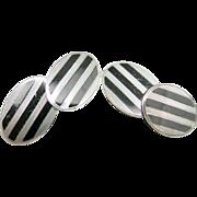 Black enamel cufflinks sterling silver Art deco Ovals