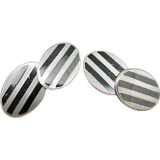 Black enamel cufflinks sterling silver Art deco Ovals