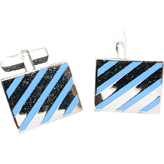 Enamel cufflinks Stripes Light blue traditional