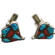 Turquoise cufflinks Coral Sterling silver INLAY