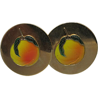 Georgia peach CUFFLINKS enamel gold tone