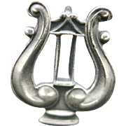 Lyre pin  Sterling silver Musical instrument Band