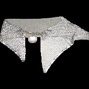 Chainmail mesh choker necklace silver tone PARIS