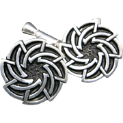 Pewter cufflinks pin wheel NOS St Justin