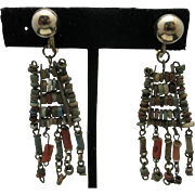 Egyptian earrings faience beads COral dangles