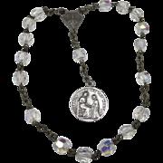Vintage rosary Aurora Borealis Crystal Beautiful Medal