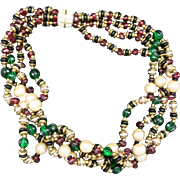 Delicious torsade necklace Glass beads pearls KJL